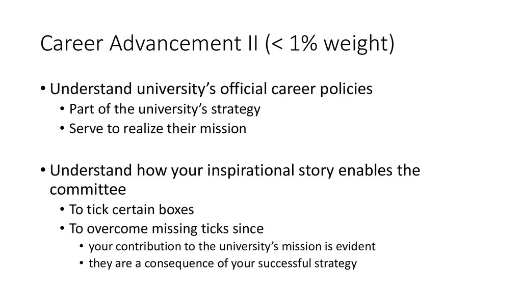 Career Advancement II (< 1% weight) • Understan...