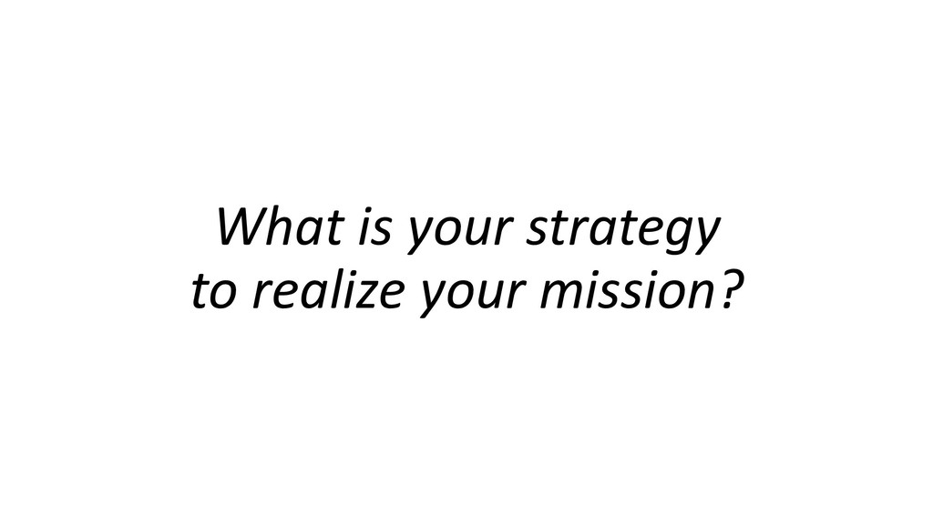 What is your strategy to realize your mission?