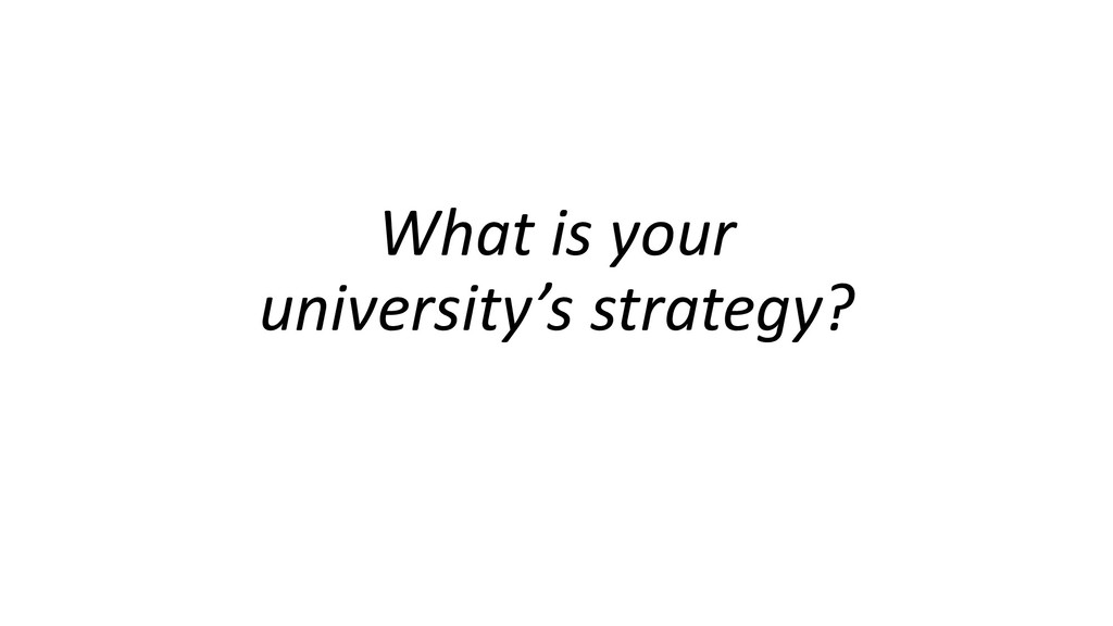 What is your university's strategy?