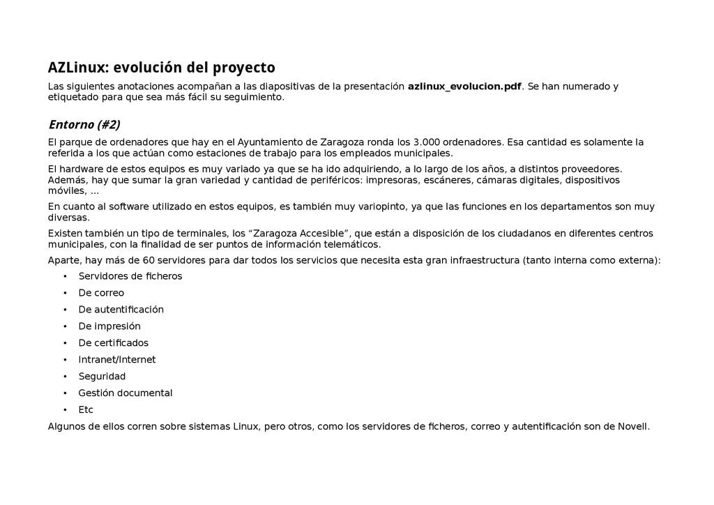 AZLinux: evolución del proyecto Las siguientes ...