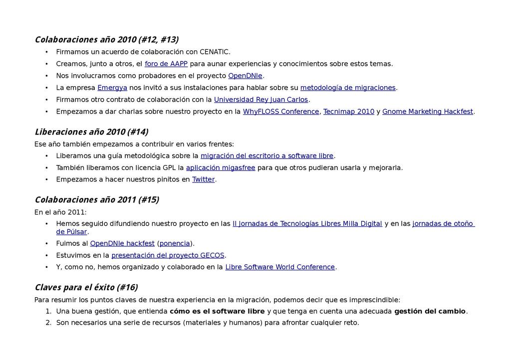 Colaboraciones año 2010 (#12, #13) • Firmamos u...