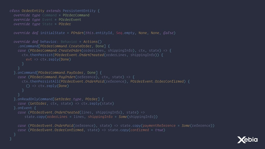 class OrderEntity extends PersistentEntity { ov...