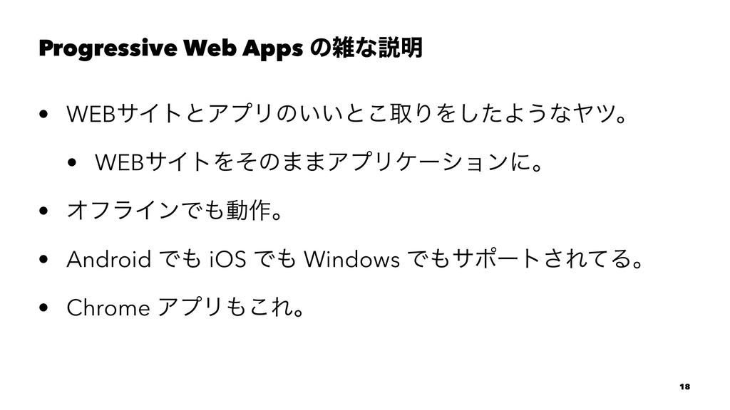 Progressive Web Apps ͷͳઆ໌ • WEBαΠτͱΞϓϦͷ͍͍ͱ͜औΓΛ...