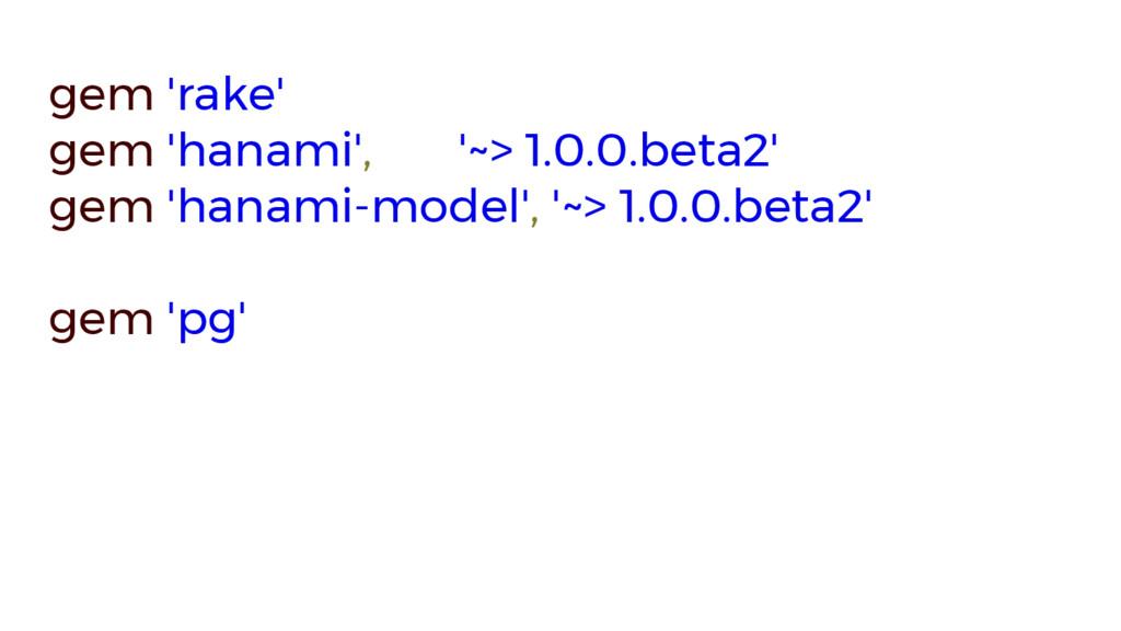 gem 'rake' gem 'hanami', '~> 1.0.0.beta2' gem '...