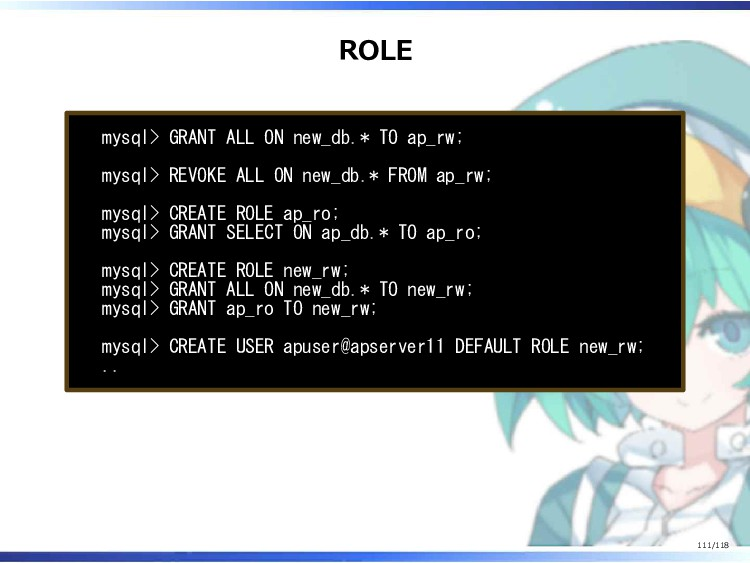 ROLE mysql> GRANT ALL ON new_db.* TO ap_rw; mys...