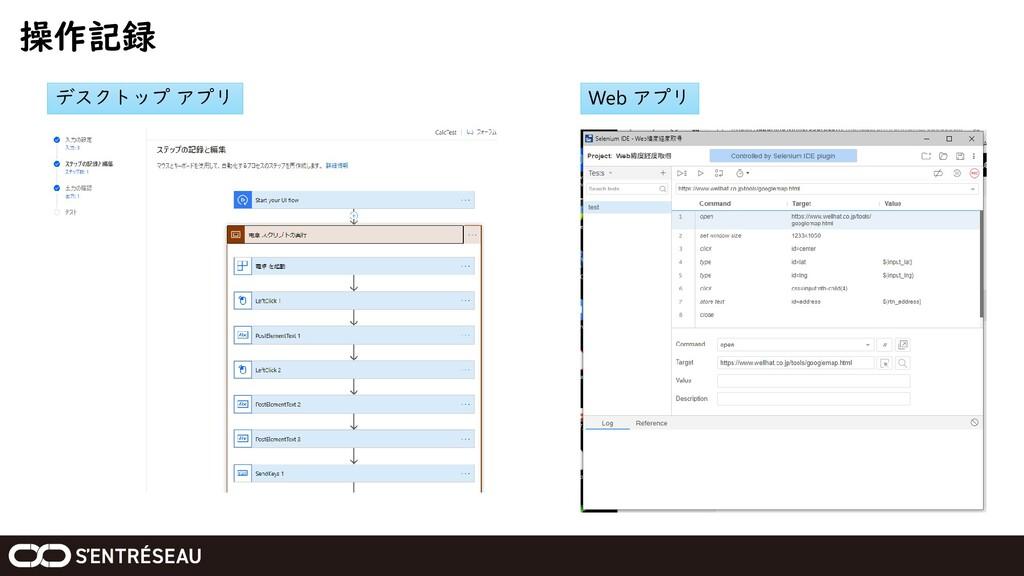操作記録 デスクトップ アプリ Web アプリ