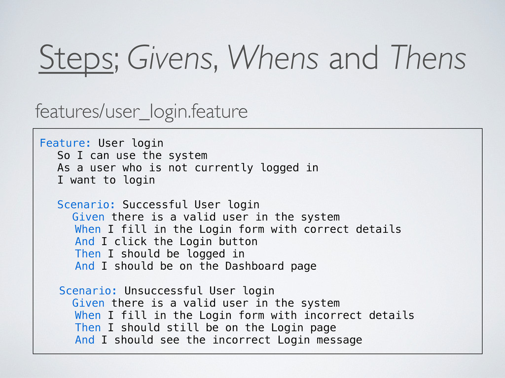 Steps; Givens, Whens and Thens features/user_lo...