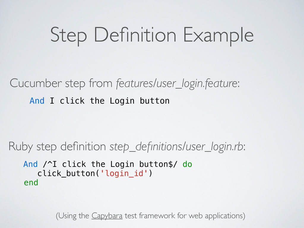 Step Definition Example Cucumber step from featu...
