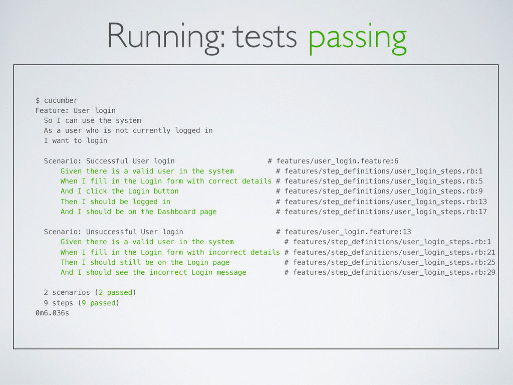 Running: tests passing $ cucumber Feature: User...