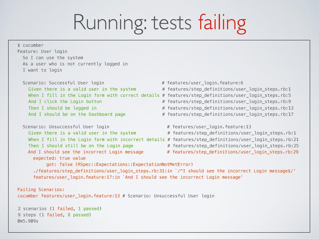 Running: tests failing $ cucumber Feature: User...