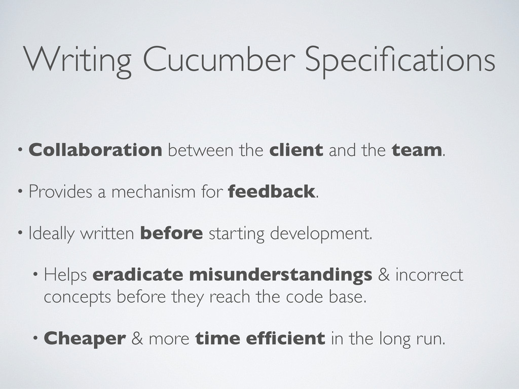 Writing Cucumber Specifications • Collaboration ...