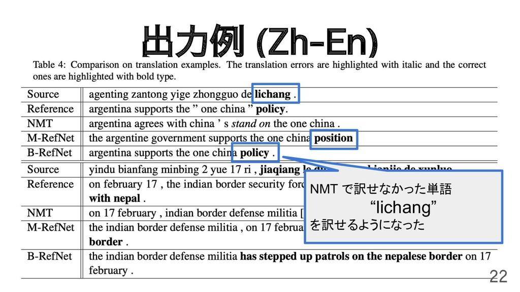 """出力例 (Zh-En) 22 NMT で訳せなかった単語 """"lichang"""" を訳せるようにな..."""