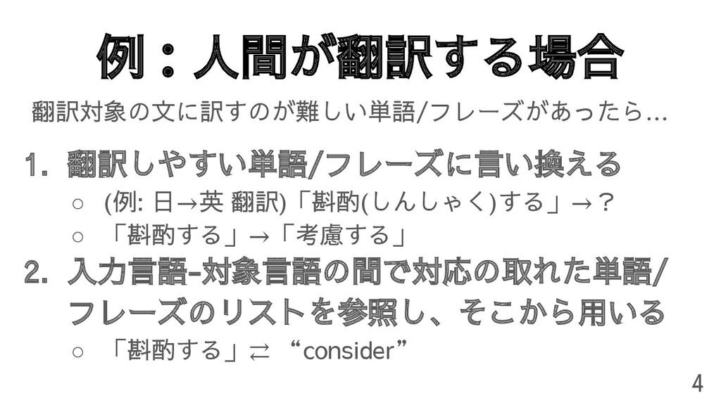例:人間が翻訳する場合 翻訳対象の文に訳すのが難しい単語/フレーズがあったら… 1. 翻訳しや...