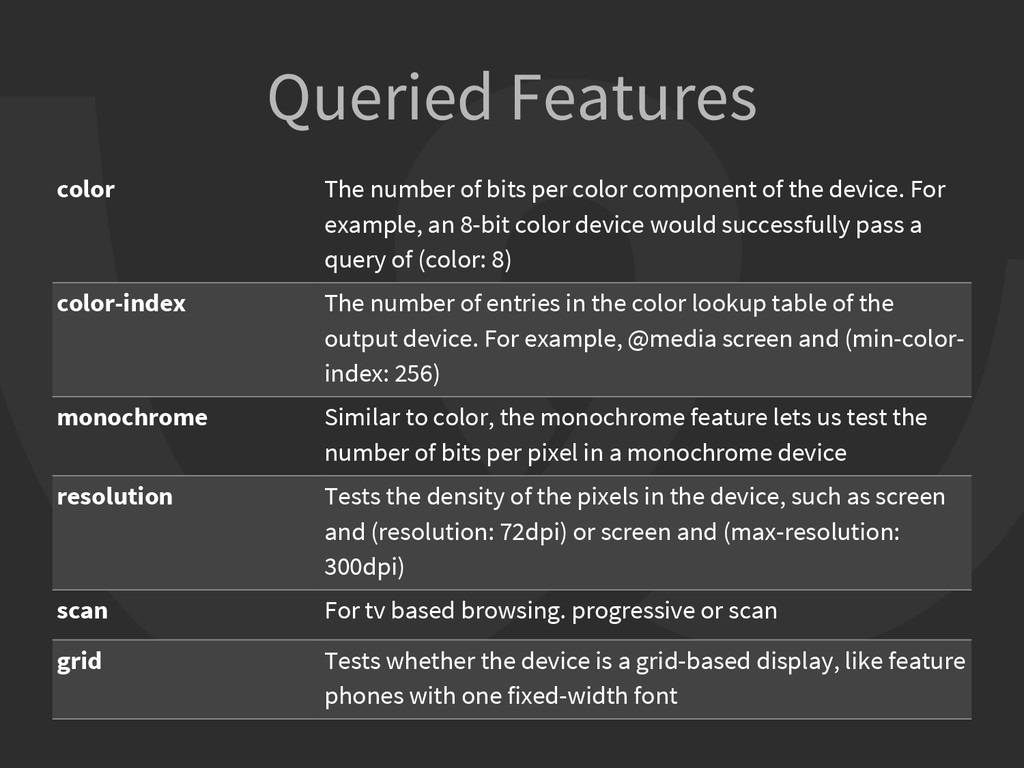 Queried Features color The number of bits per c...