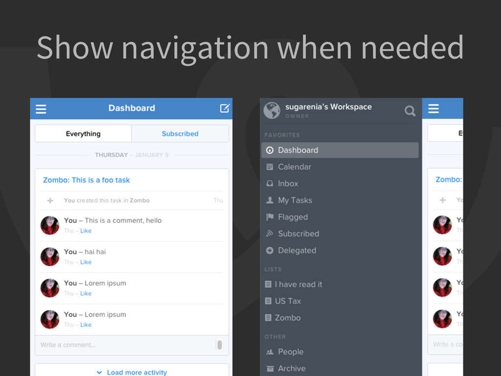 Show navigation when needed