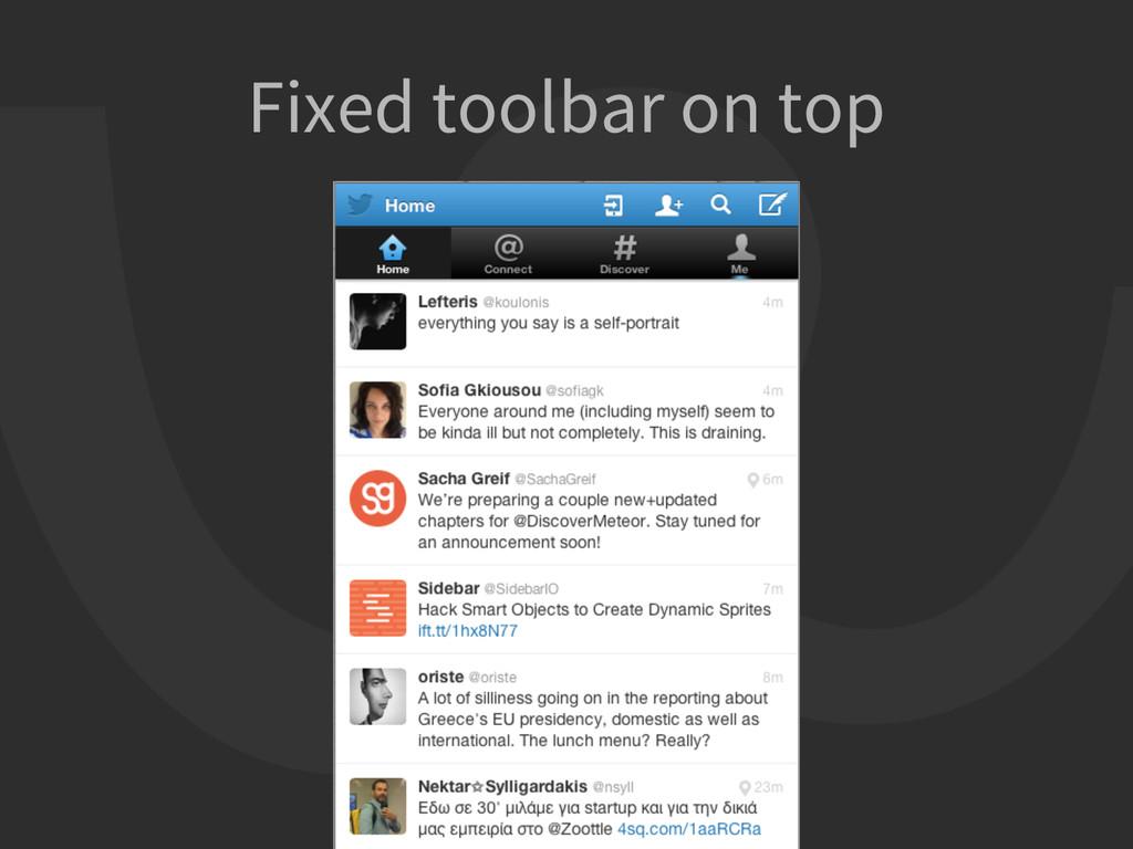 Fixed toolbar on top