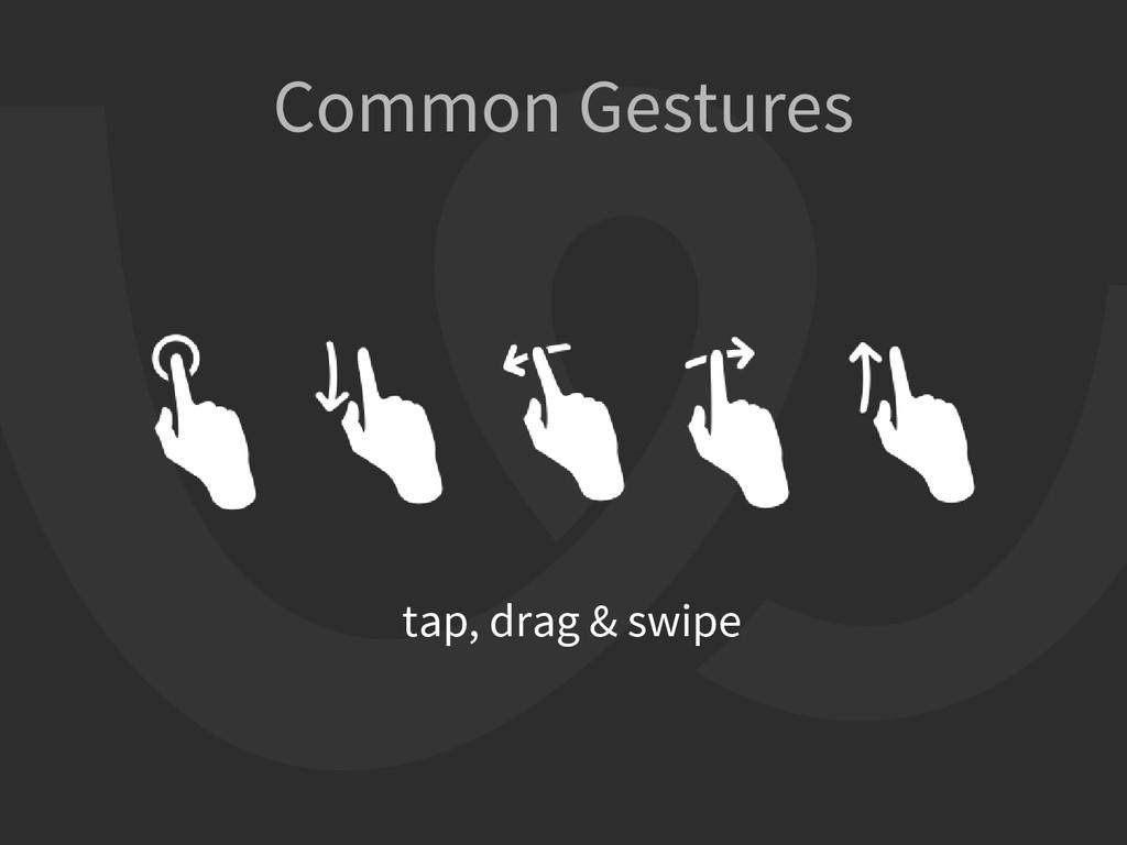 Common Gestures tap, drag & swipe