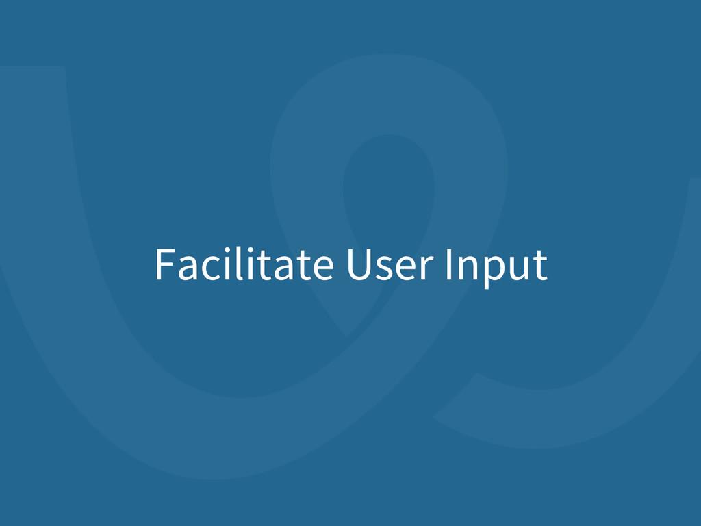 Facilitate User Input