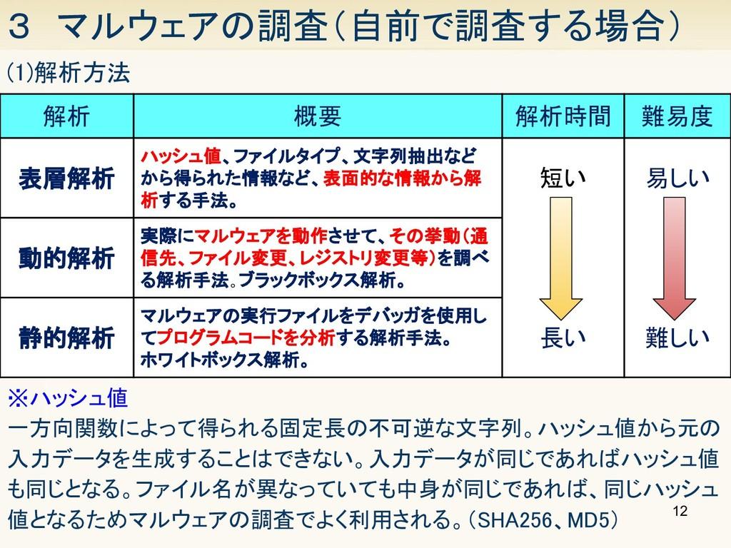 12 3 マルウェアの調査(自前で調査する場合) (1)解析方法 解析 概要 解析時間...
