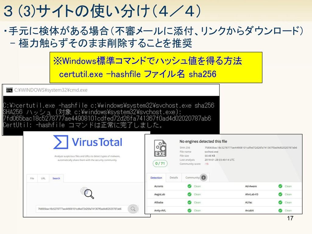 17 3 (3)サイトの使い分け(4/4) ・手元に検体がある場合(不審メールに添付、リンク...