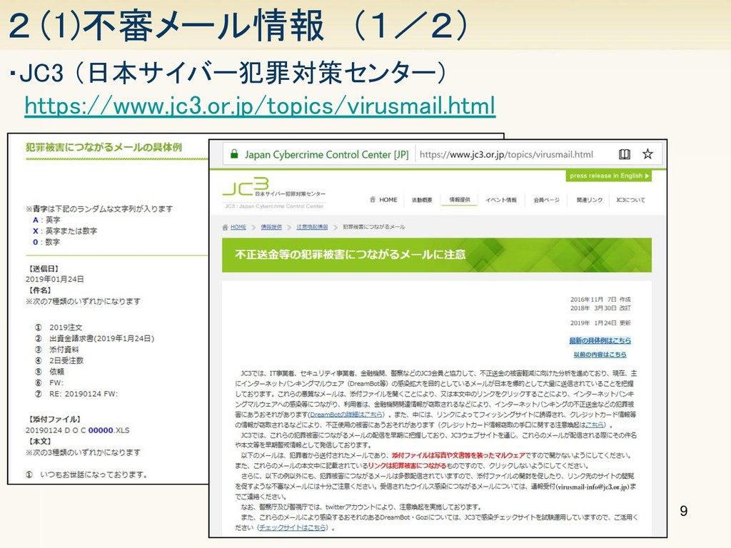9 2 (1)不審メール情報 (1/2) ・JC3 (日本サイバー犯罪対策センター)  h...