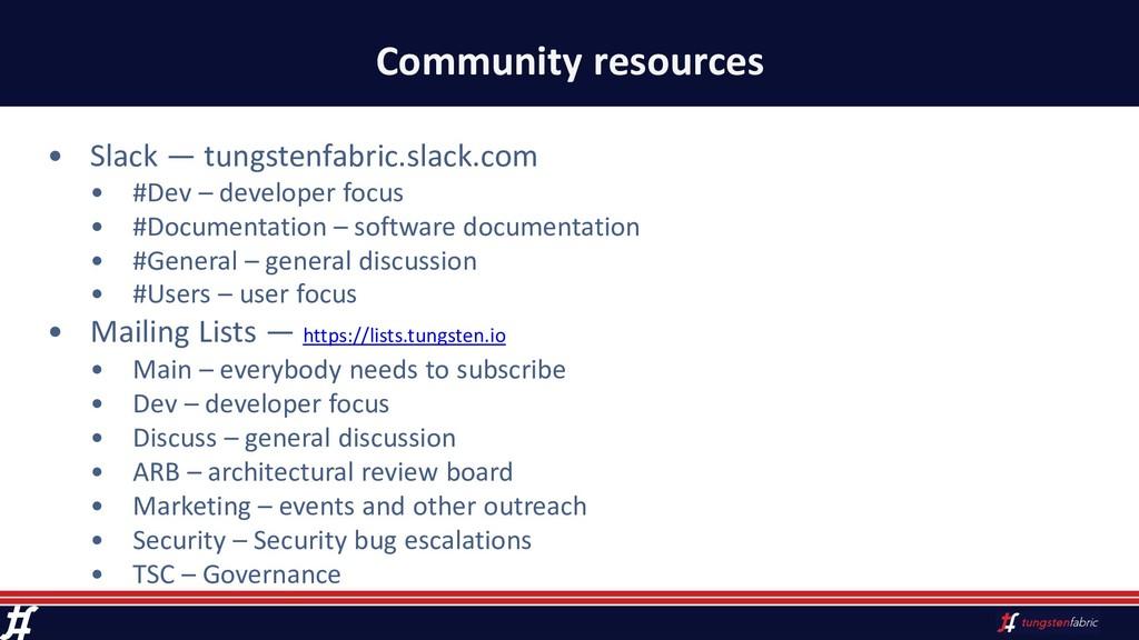 Community resources • Slack — tungstenfabric.sl...