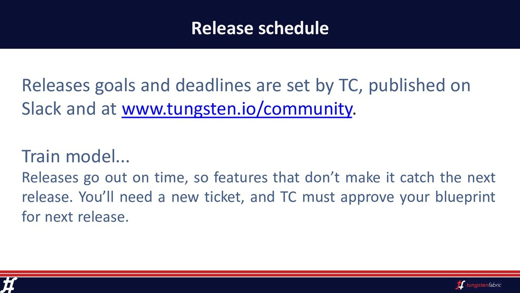 Release schedule Releases goals and deadlines a...