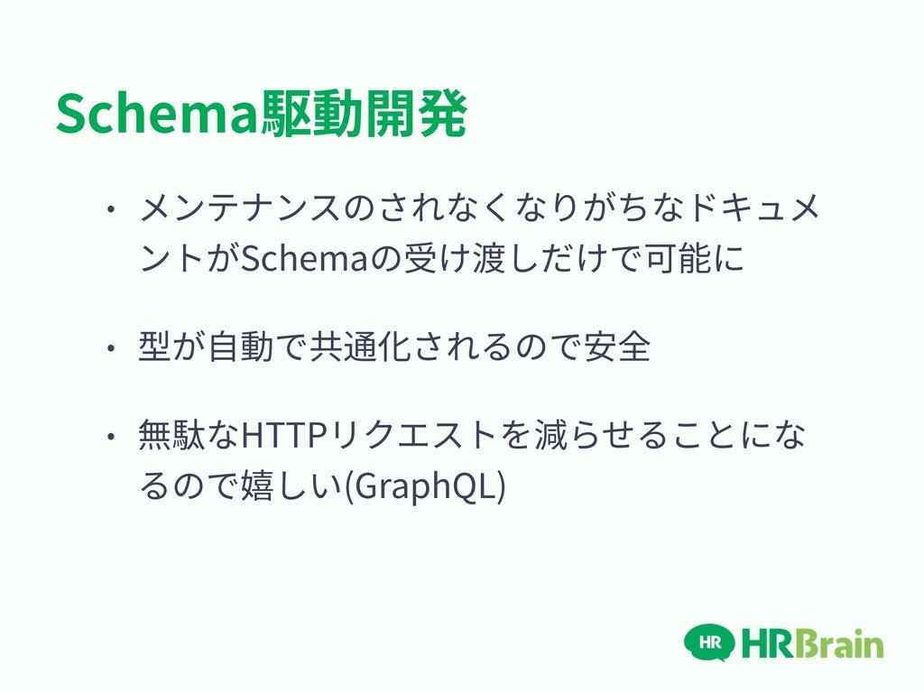 Schema駆動開発 • メンテナンスのされなくなりがちなドキュメ ントがSchemaの受け渡...