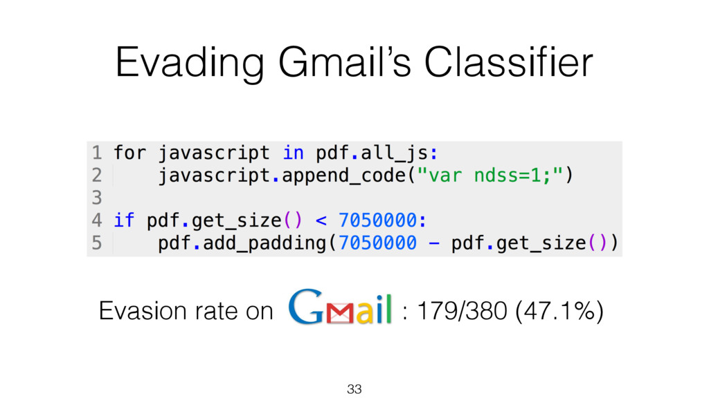 Evading Gmail's Classifier 33 Evasion rate on : ...