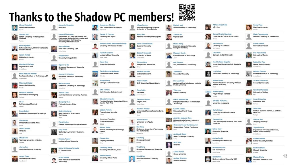 Thanks to the Shadow PC members! 13