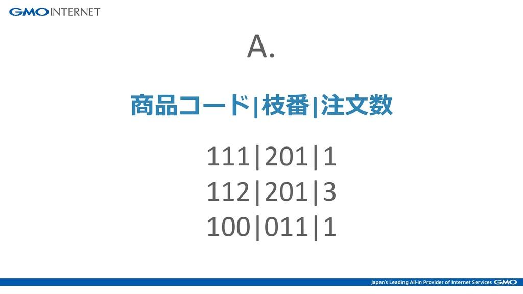 111 201 1 112 201 3 100 011 1 商品コード 枝番 注文数 A.