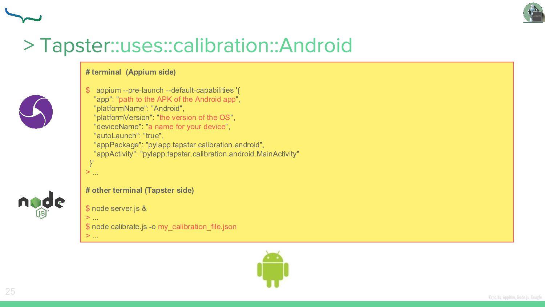 25 Credits: Appium, Node.js, Google # terminal ...