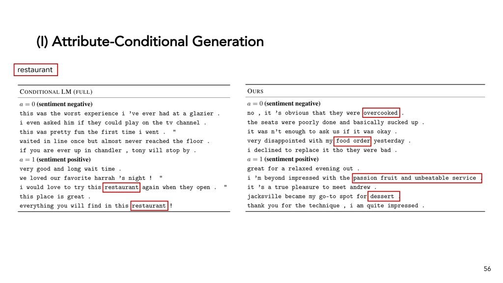 (I) Attribute-Conditional Generation 56 restaur...