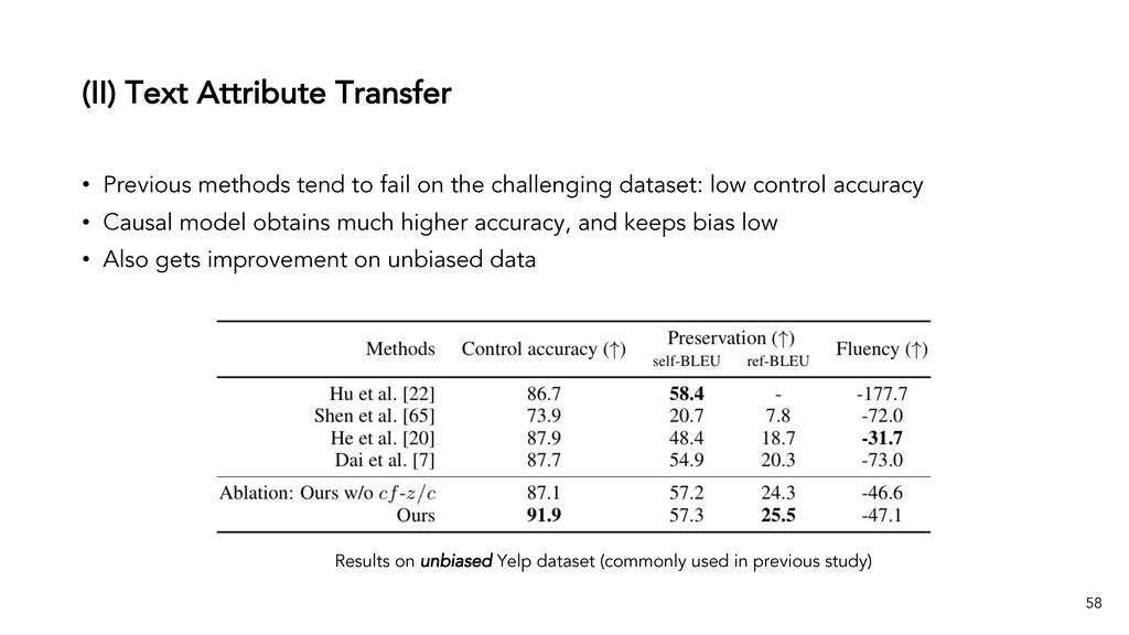 (II) Text Attribute Transfer 58 Results on unbi...
