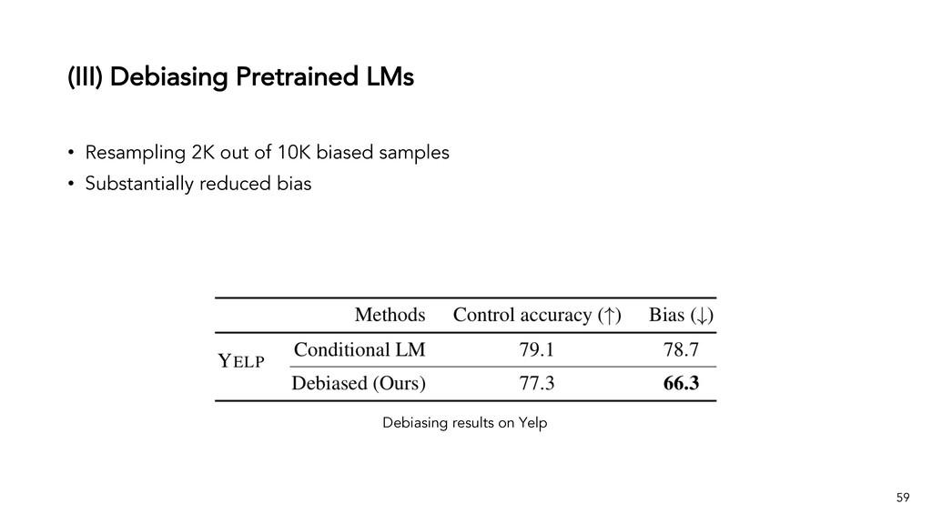 (III) Debiasing Pretrained LMs 59 • Resampling ...