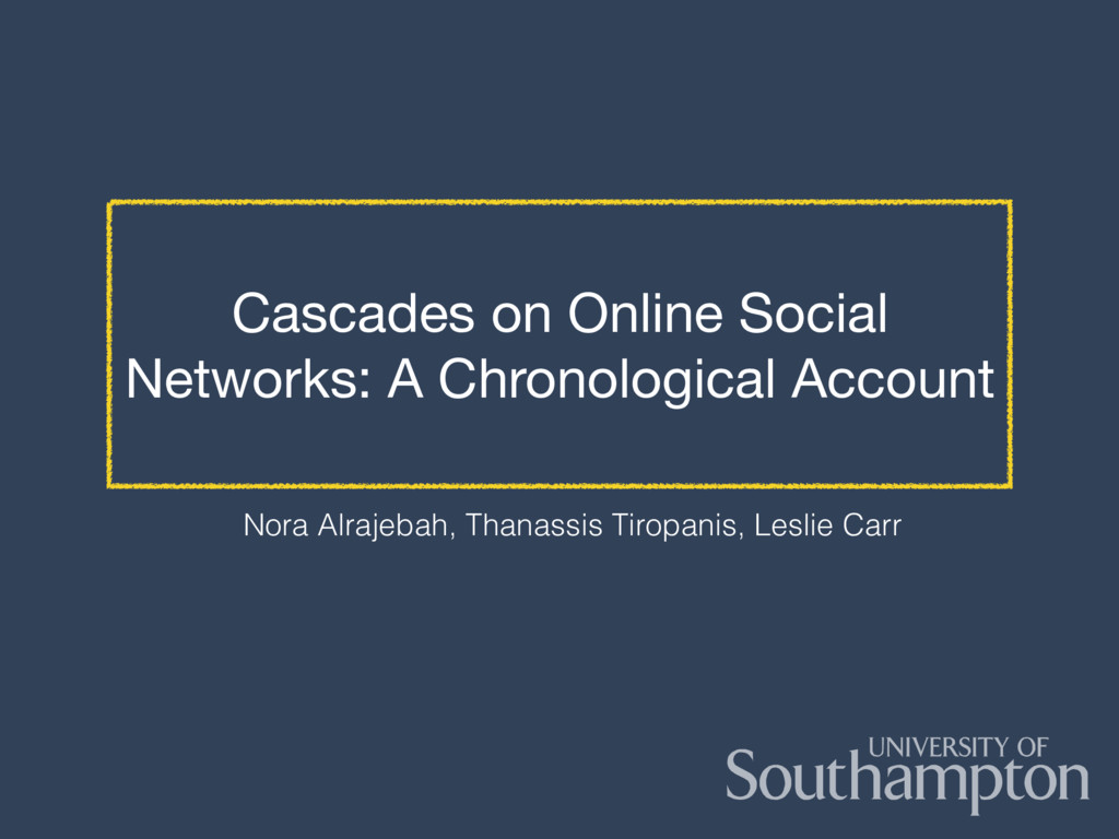 Cascades on Online Social Networks: A Chronolog...
