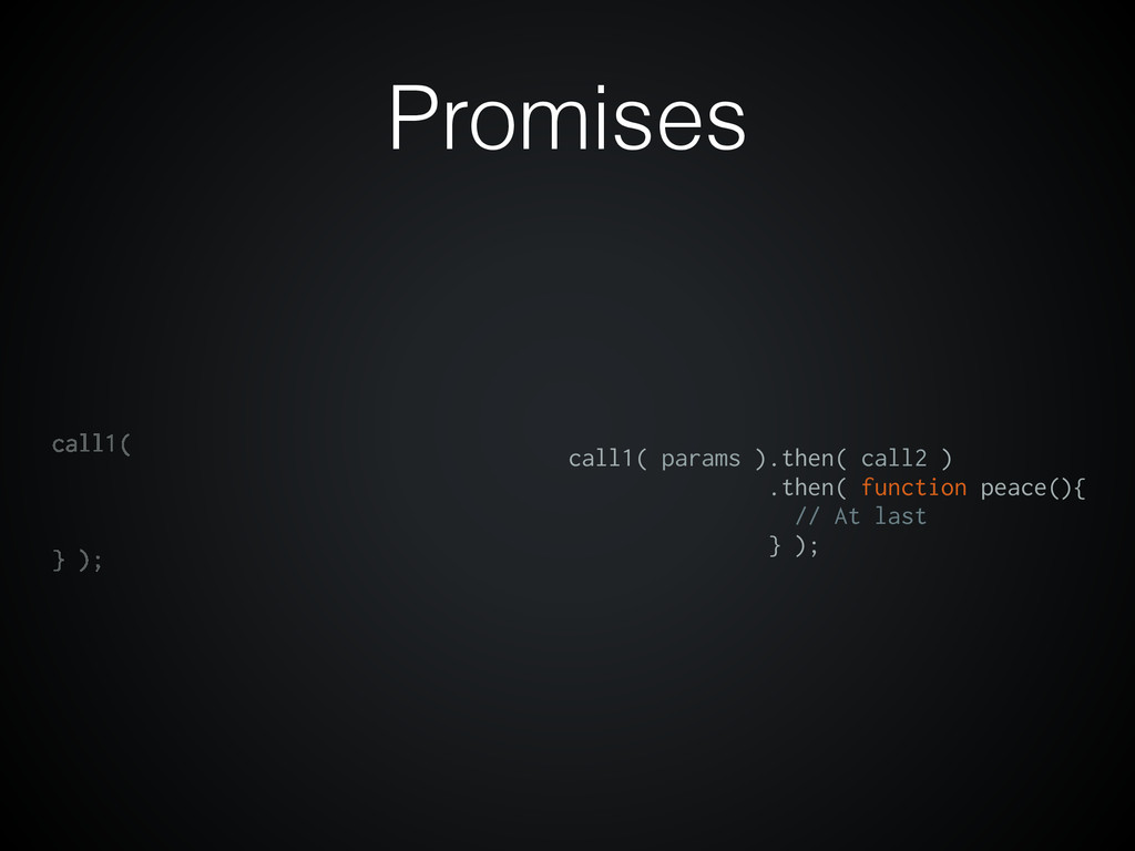 Promises call1( } ); call1( params ).then( call...
