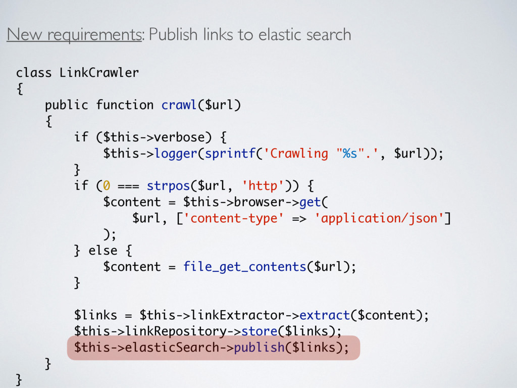 New requirements: Publish links to elastic sear...