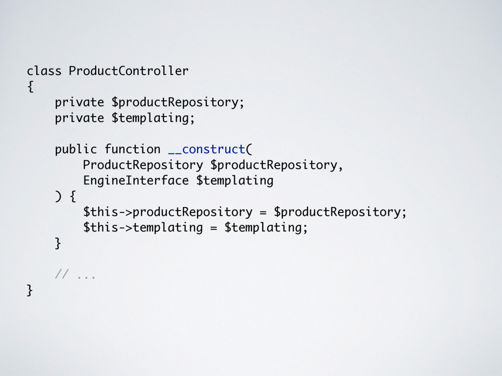 class ProductController { private $productRepos...