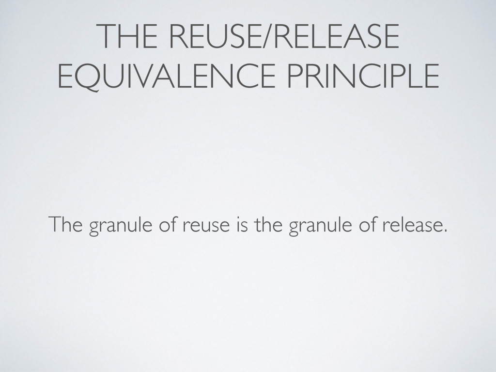 THE REUSE/RELEASE EQUIVALENCE PRINCIPLE The gra...