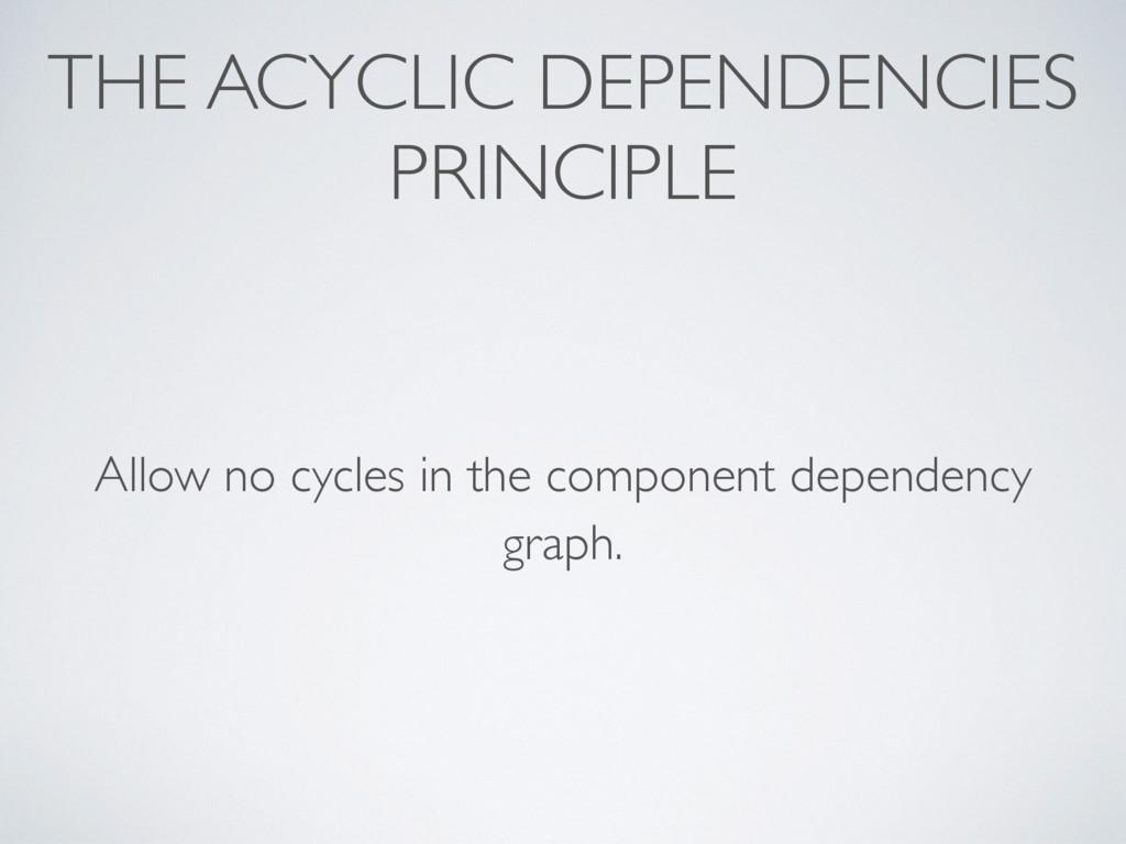 THE ACYCLIC DEPENDENCIES PRINCIPLE Allow no cyc...