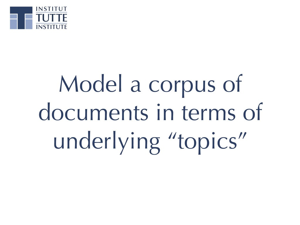 Model a corpus of documents in terms of underly...