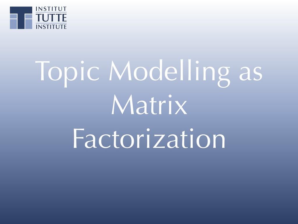 Topic Modelling as Matrix Factorization