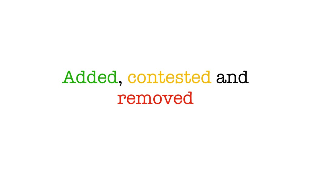 Added, contested and removed