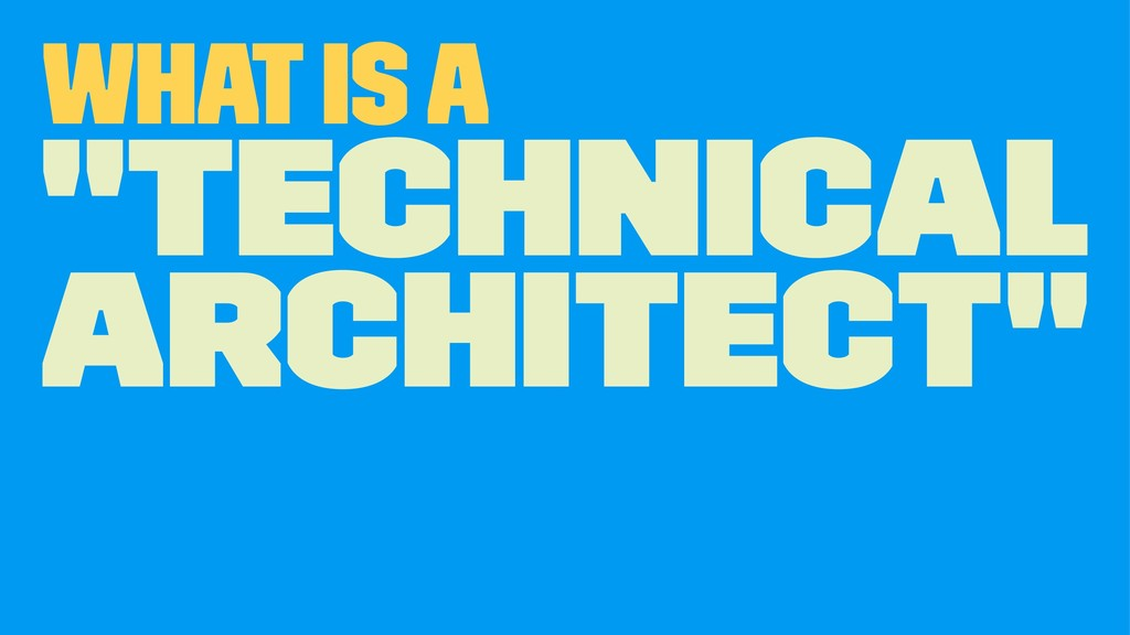"What is a ""Technical Architect"""
