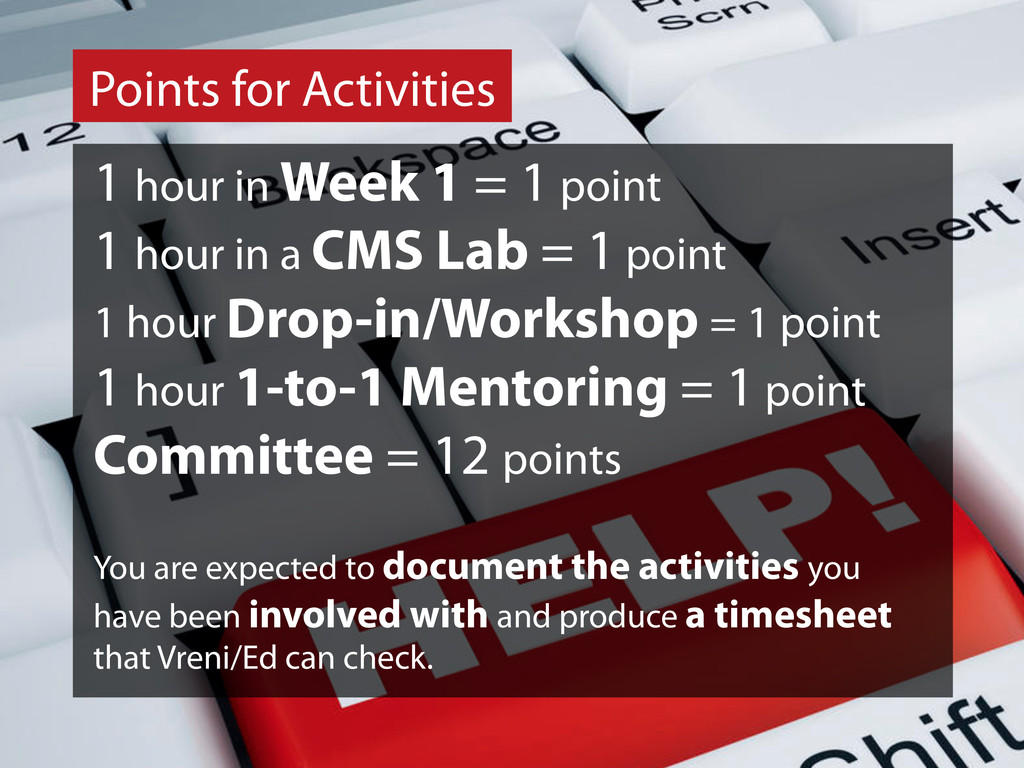 Points for Activities 1 hour in Week 1 = 1 poin...