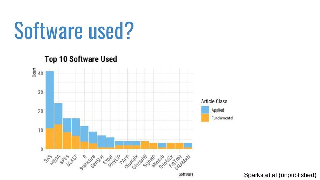 Software used? Sparks et al (unpublished)
