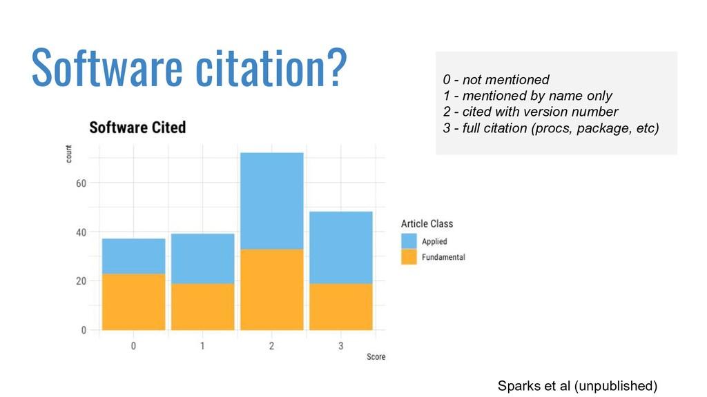 Software citation? Sparks et al (unpublished) 0...