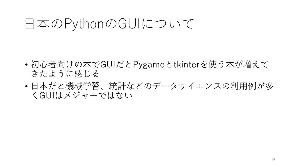 日本のPythonのGUIについて • 初心者向けの本でGUIだとPygameとtkinter...